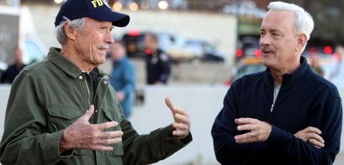 Clint Eastwood dirigiendo a Tom Hanks en el rodaje de Sully