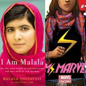 Foto de Malala (izquierda) junto a la portada del Nº1 de la Nueva Ms.Marvel (derecha)