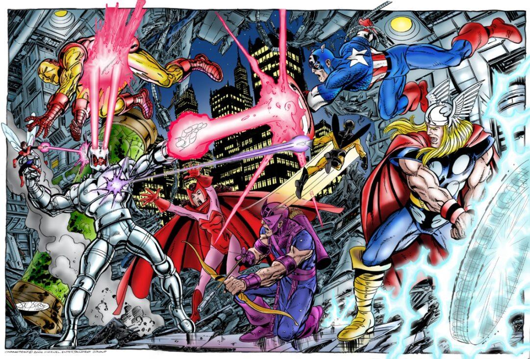 Los Vengadores combatiendo a Ultrón. Por John Byrne
