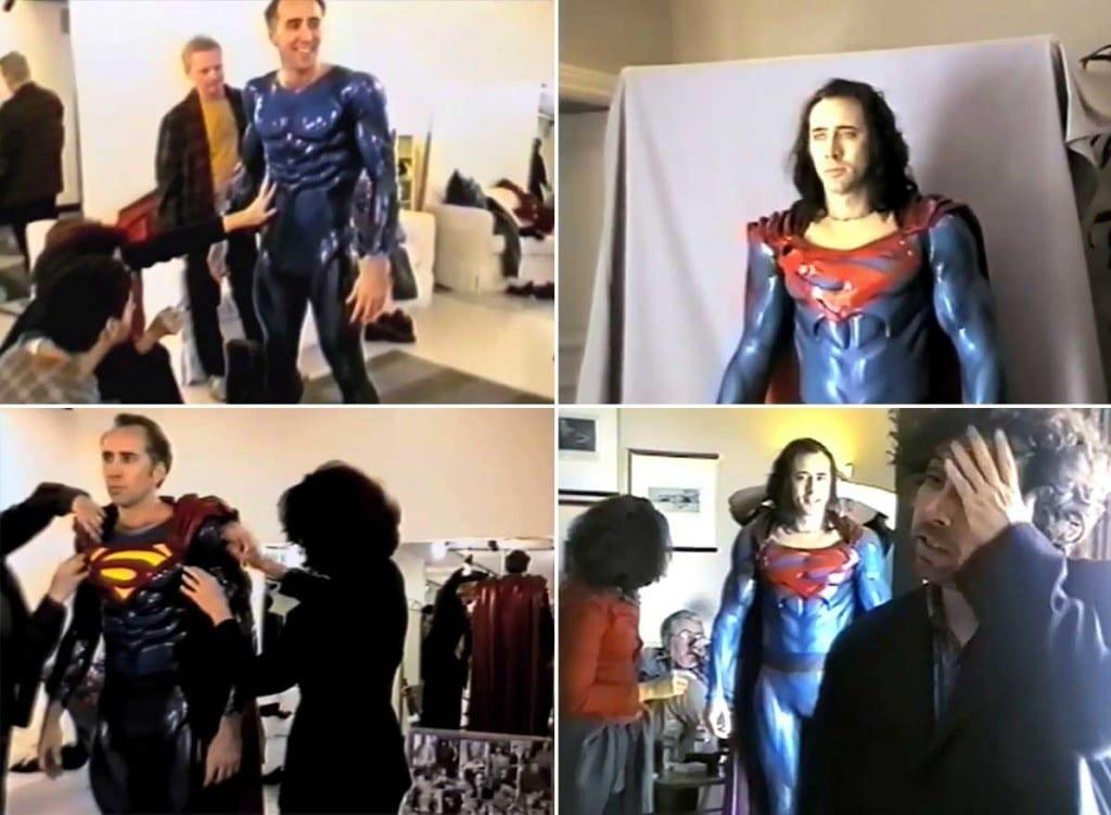 Nicolas-Cage-testing-the-Superman-costume-for-Tim-Burton's-canceled-movie-Superman-Lives