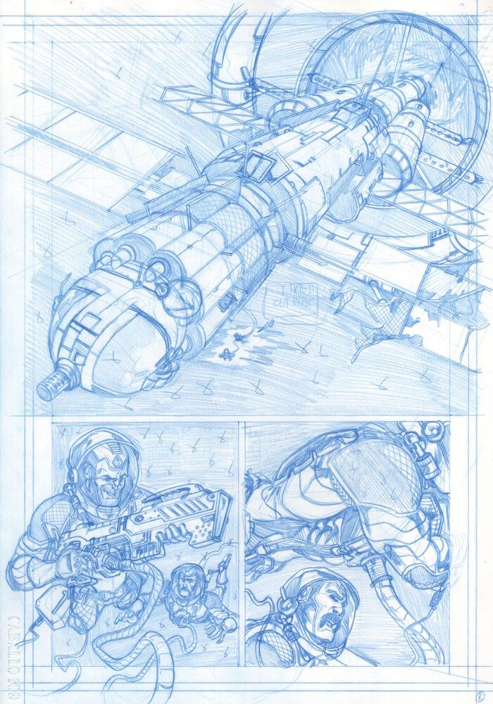 Página 8 en lápiz azul del número 2 de La carta 44