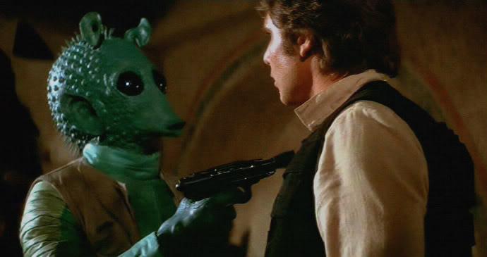 Han Solo y un rodiano famoso