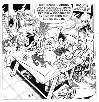 Ibáñez dibujando y Mortadelo posando