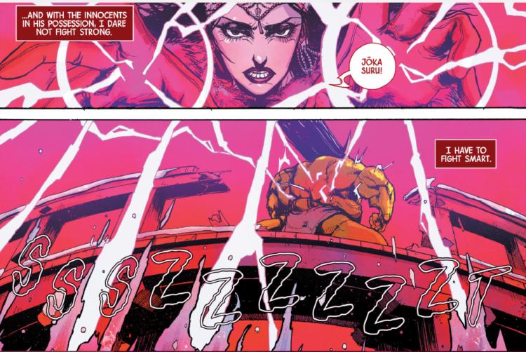 Viñetas de Scarlet Witch Vol 2 #10. Por Kei Zama.